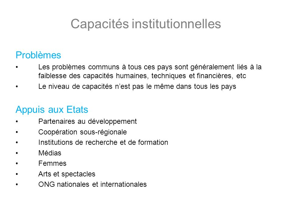 Capacités institutionnelles