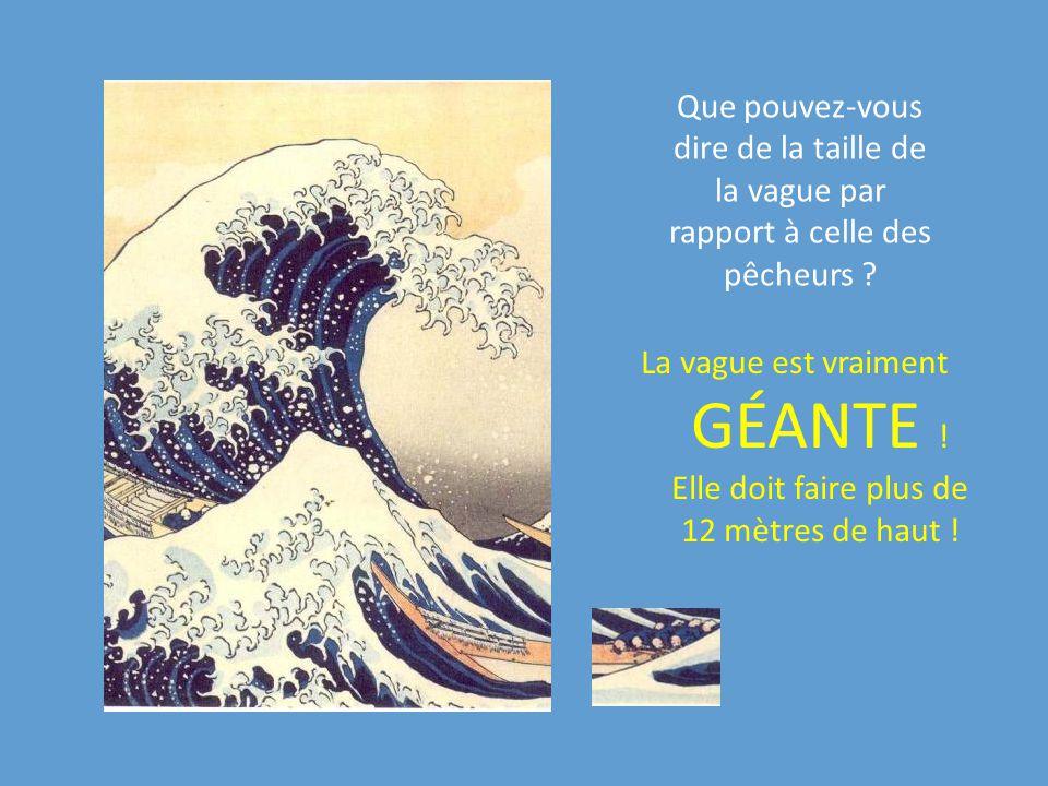 Que pouvez-vous dire de la taille de la vague par rapport à celle des pêcheurs