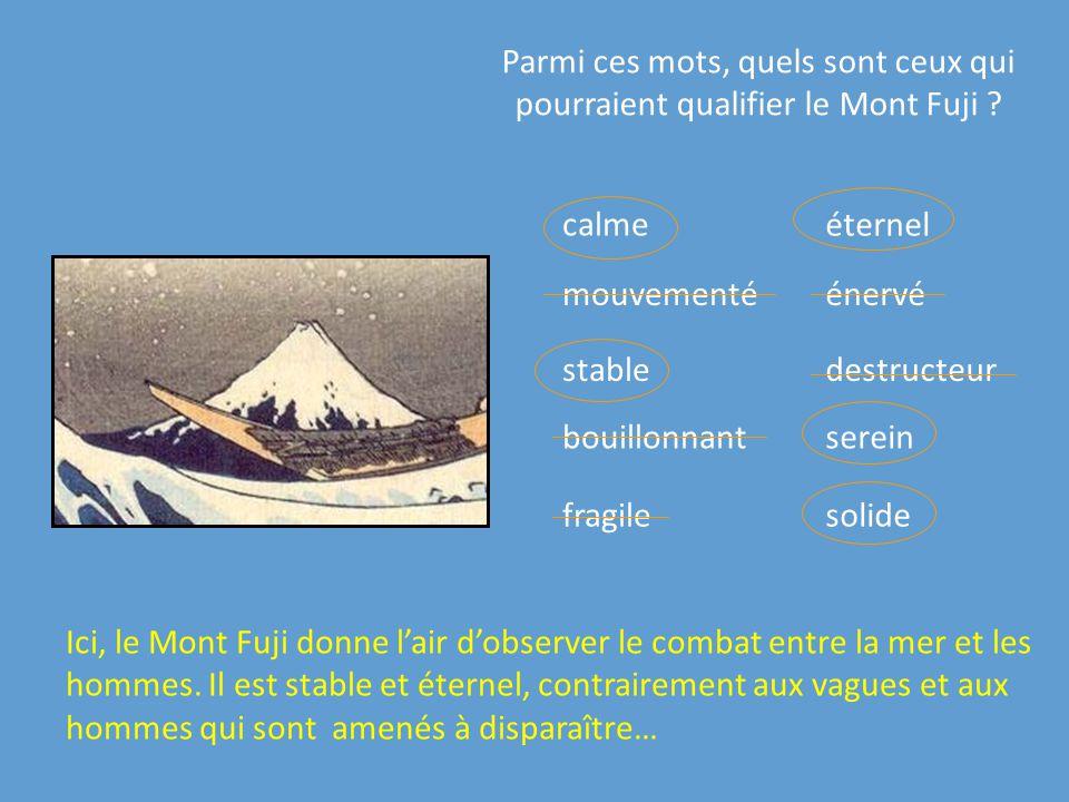 Parmi ces mots, quels sont ceux qui pourraient qualifier le Mont Fuji