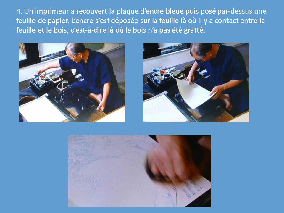 4. Un imprimeur a recouvert la plaque d'encre bleue puis posé par-dessus une feuille de papier.