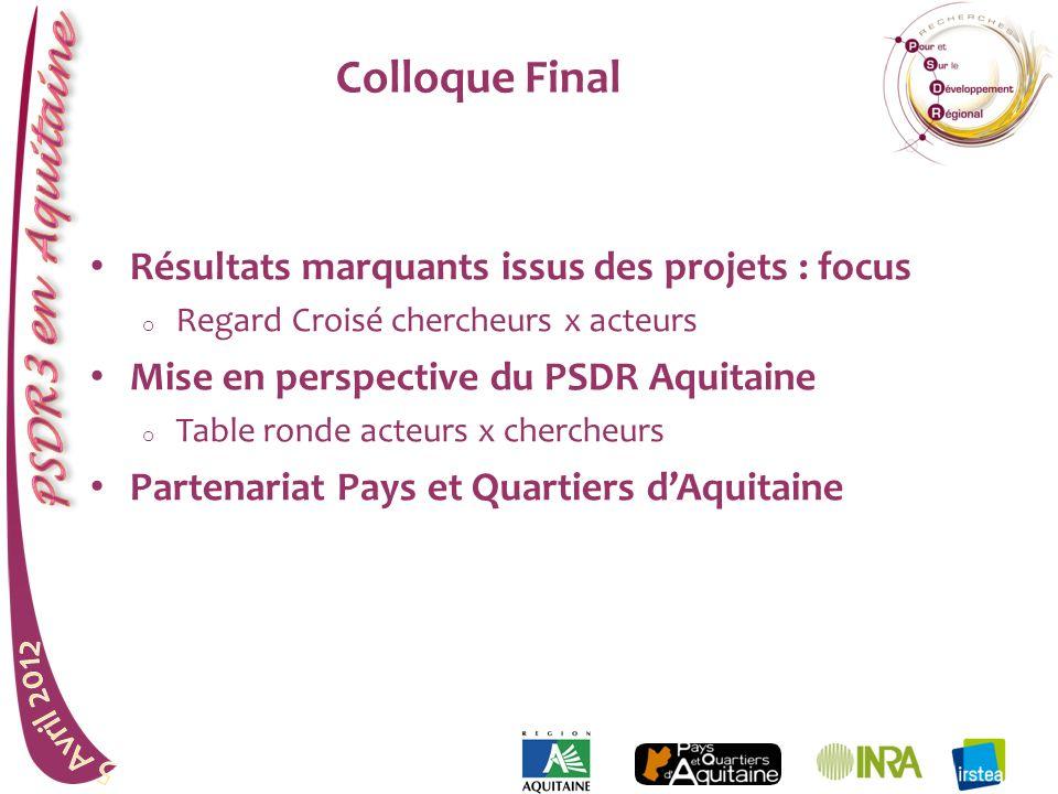 Colloque Final Résultats marquants issus des projets : focus