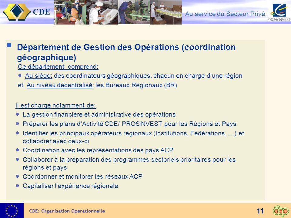 Département de Gestion des Opérations (coordination géographique)