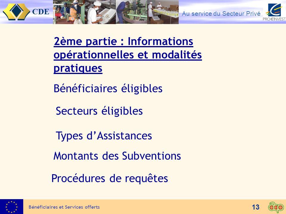 2ème partie : Informations opérationnelles et modalités pratiques