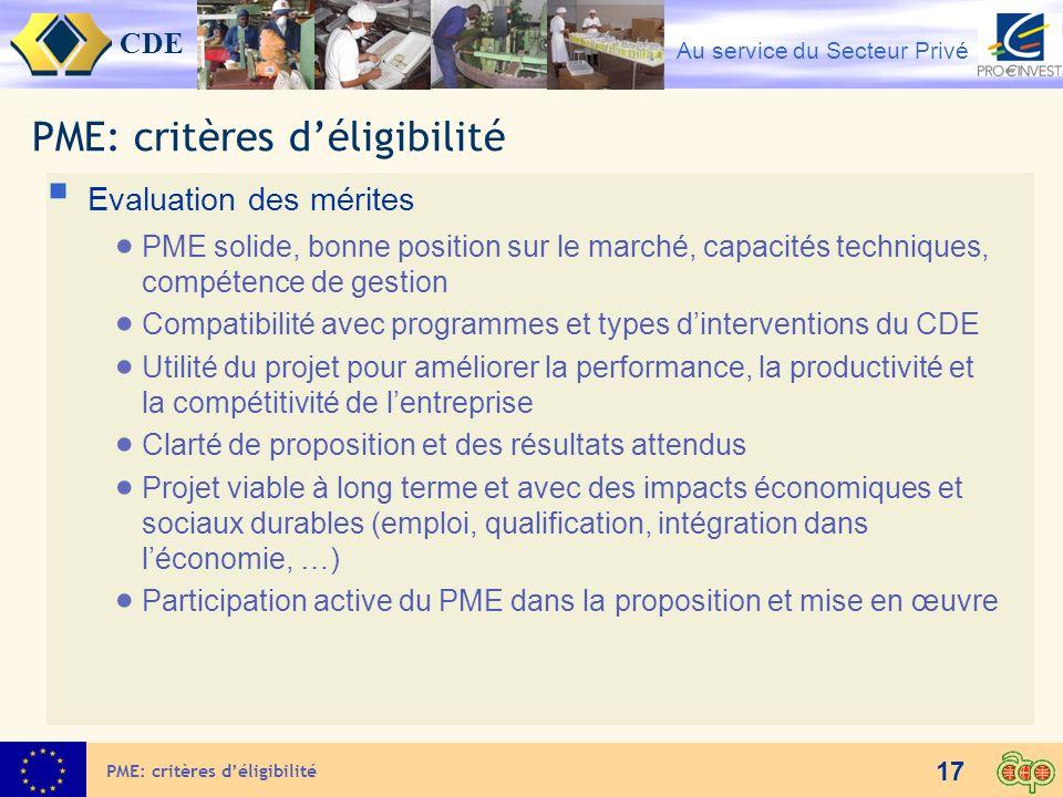 PME: critères d'éligibilité