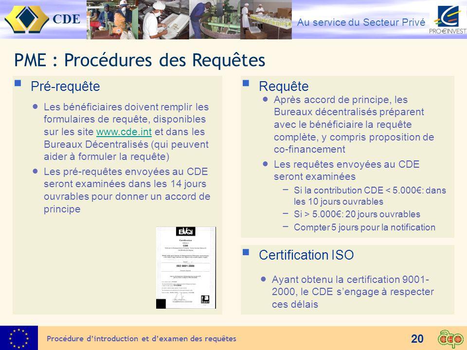 PME : Procédures des Requêtes