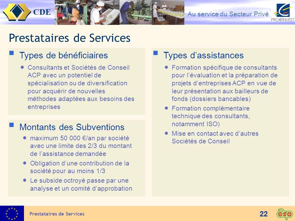 Prestataires de Services