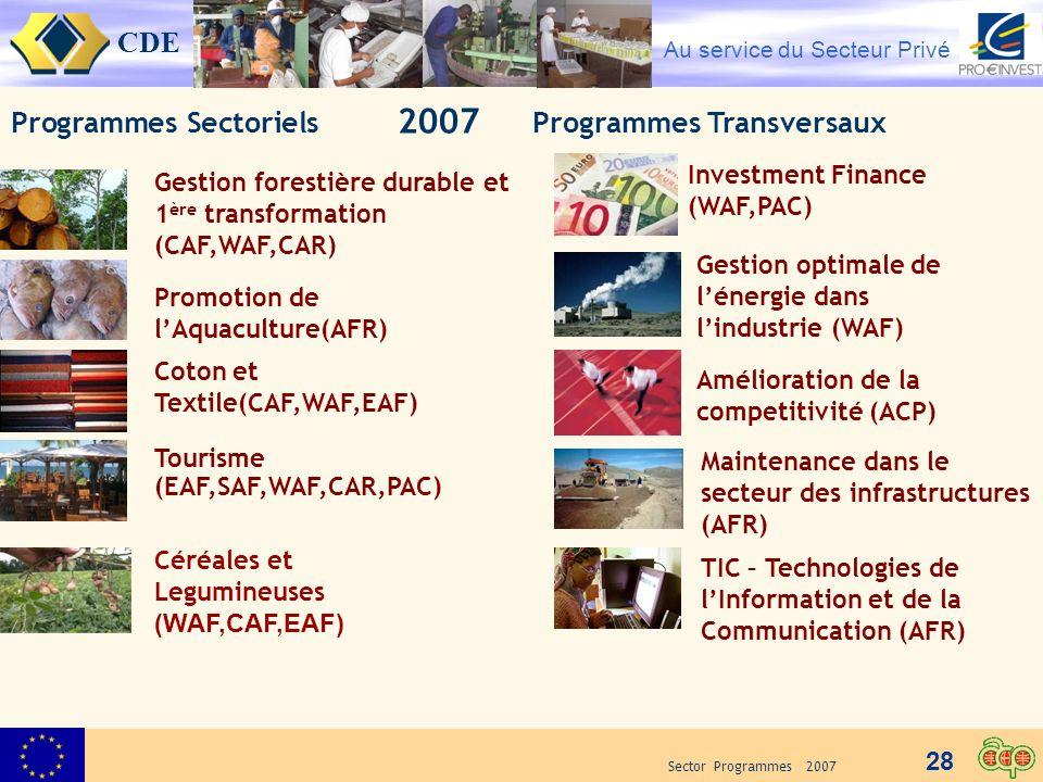 Programmes Sectoriels 2007 Programmes Transversaux