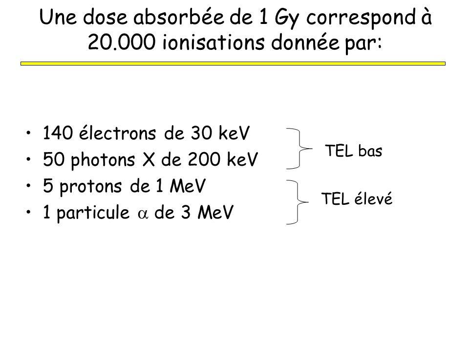Une dose absorbée de 1 Gy correspond à 20.000 ionisations donnée par: