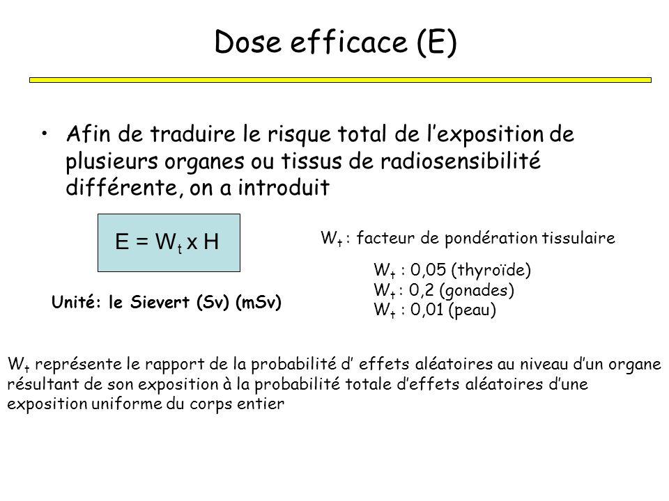 Dose efficace (E) Afin de traduire le risque total de l'exposition de plusieurs organes ou tissus de radiosensibilité différente, on a introduit.