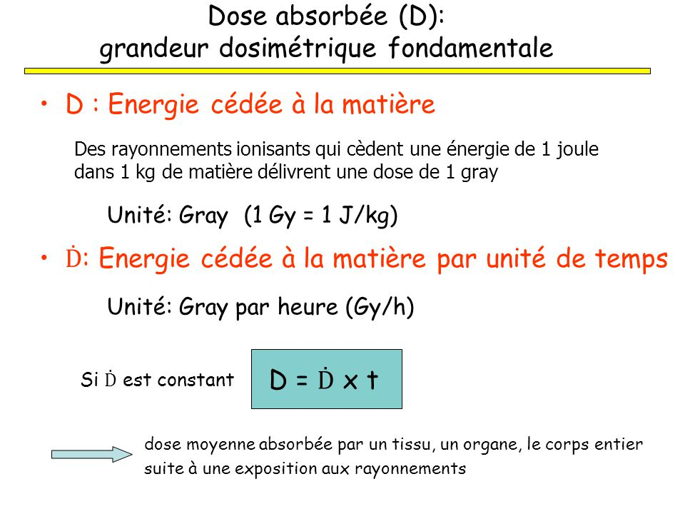 Dose absorbée (D): grandeur dosimétrique fondamentale