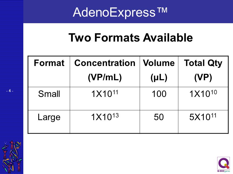 AdenoExpress™ Two Formats Available Format Concentration (VP/mL)