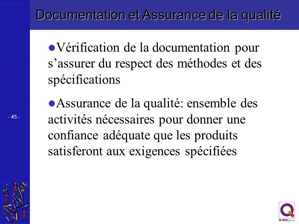 Documentation et Assurance de la qualité