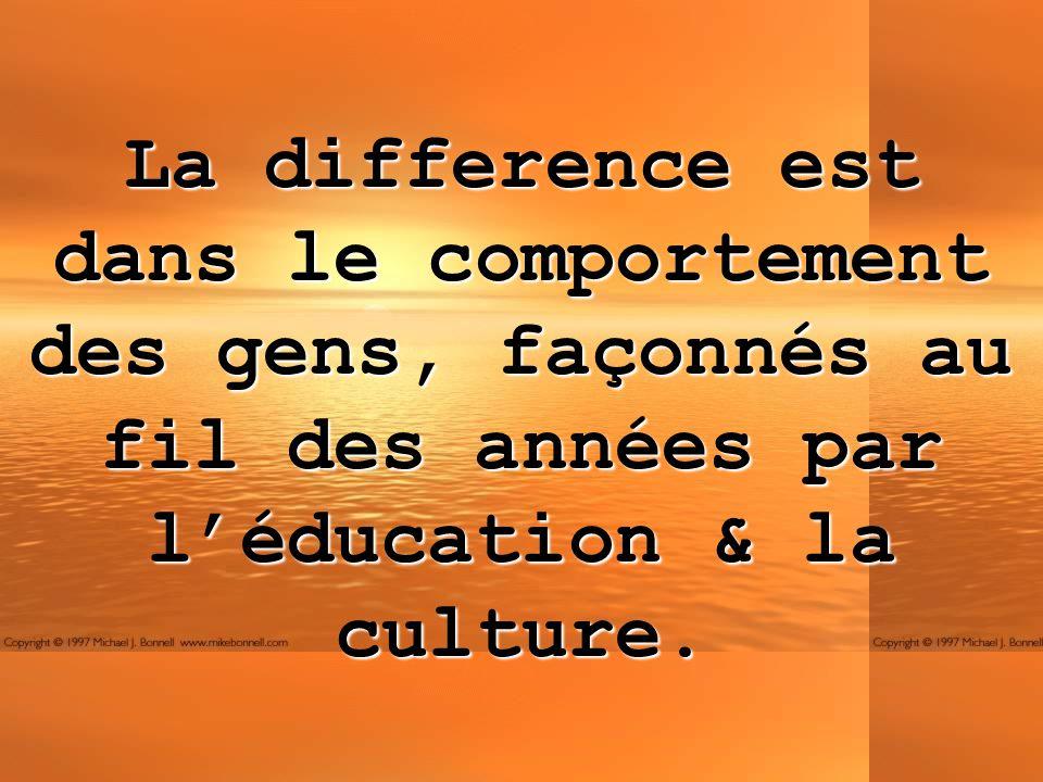 La difference est dans le comportement des gens, façonnés au fil des années par l'éducation & la culture.