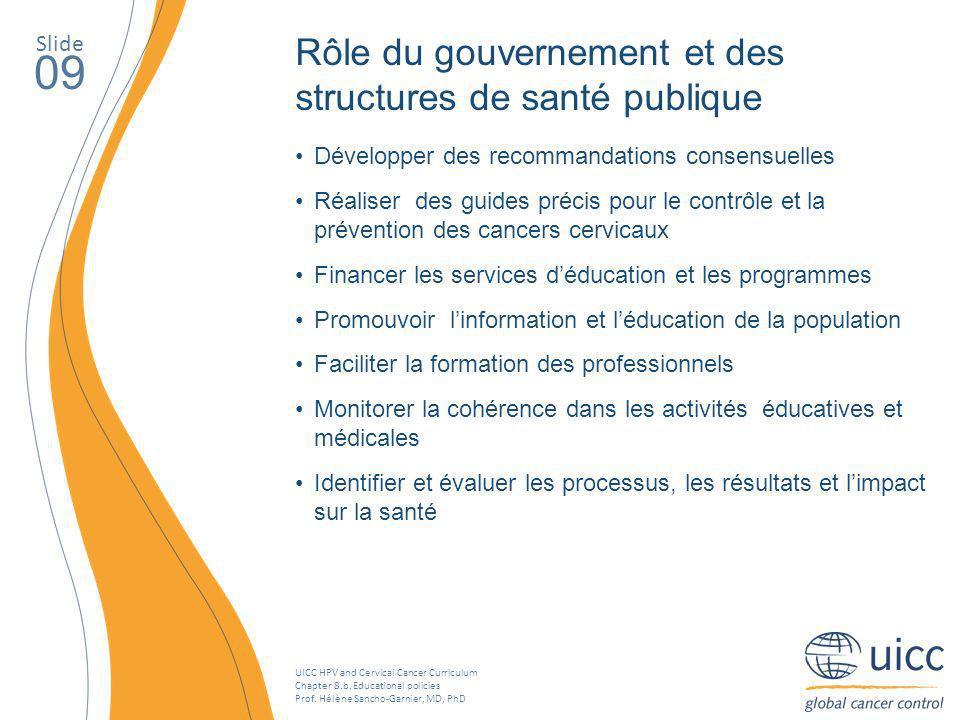 09 Rôle du gouvernement et des structures de santé publique Slide