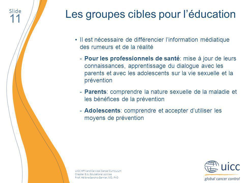 11 Les groupes cibles pour l'éducation Slide