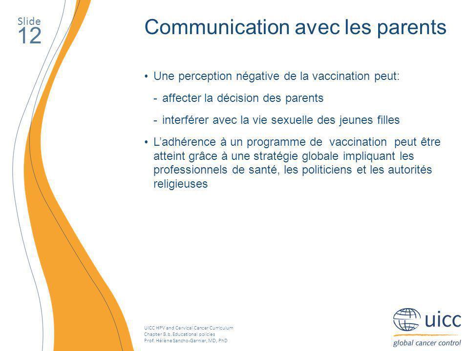 12 Communication avec les parents Slide