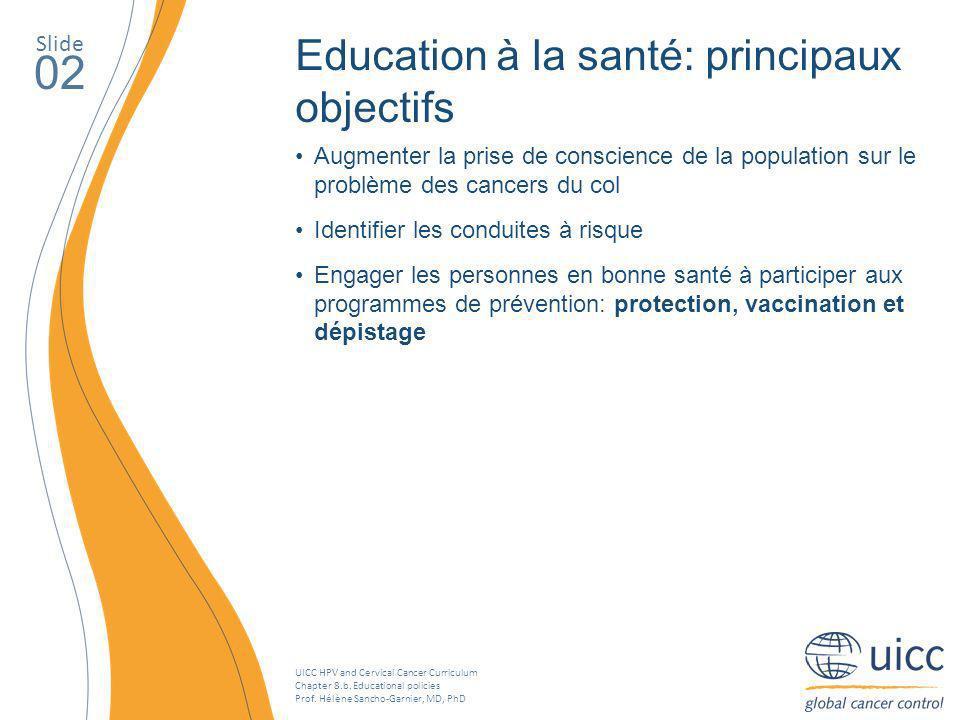 02 Education à la santé: principaux objectifs Slide
