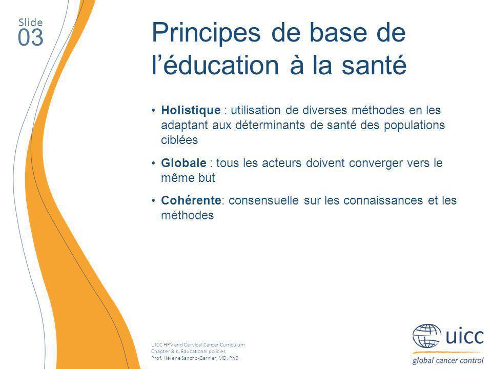 Principes de base de l'éducation à la santé