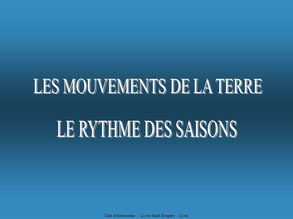 LE RYTHME DES SAISONS LES MOUVEMENTS DE LA TERRE