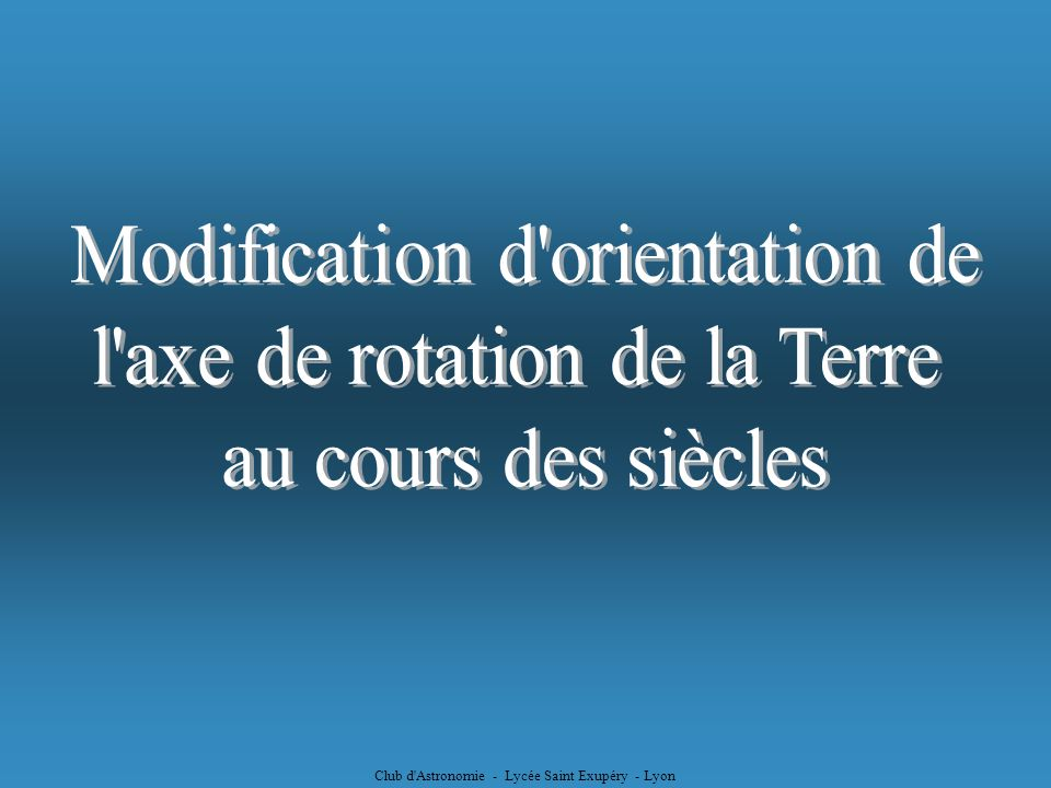 Modification d orientation de l axe de rotation de la Terre