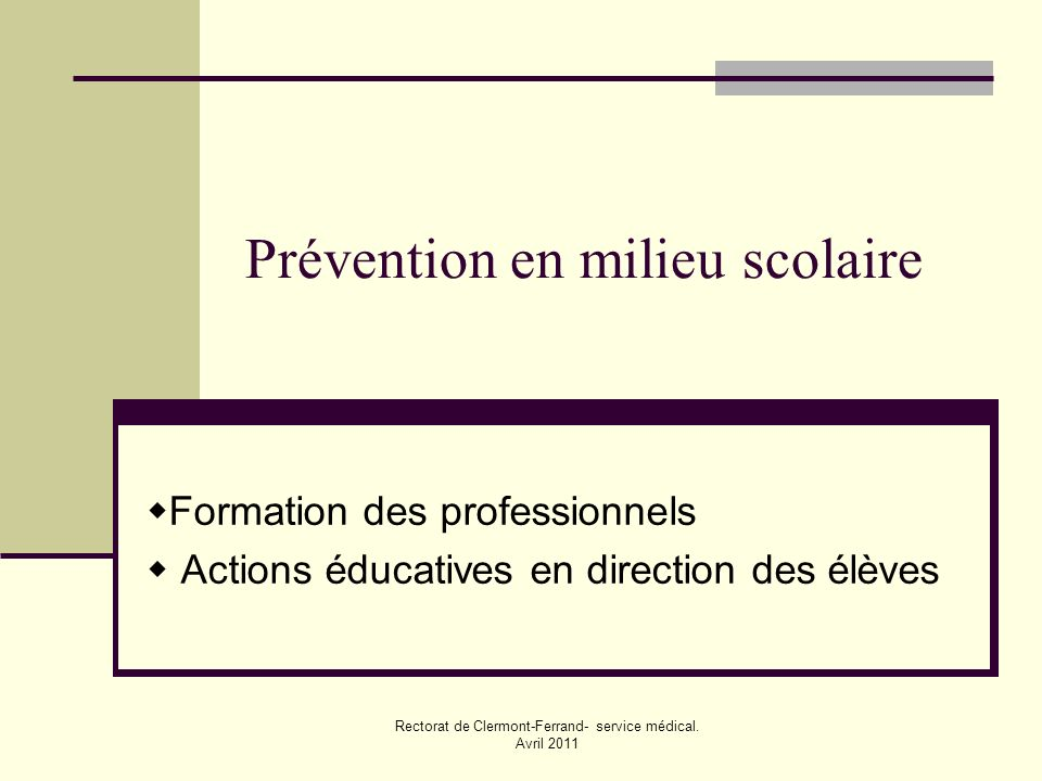 Prévention en milieu scolaire