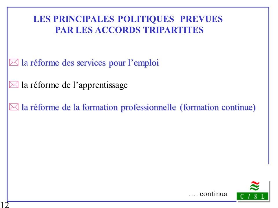 LES PRINCIPALES POLITIQUES PREVUES PAR LES ACCORDS TRIPARTITES