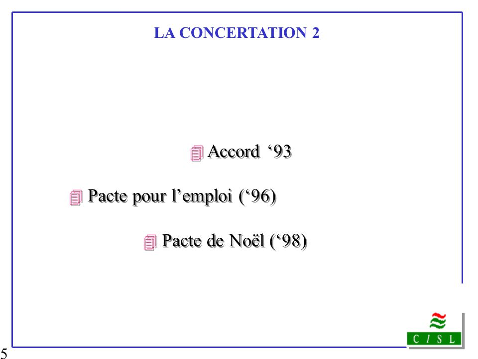 4 Accord '93 4 Pacte de Noël ('98) LA CONCERTATION 2