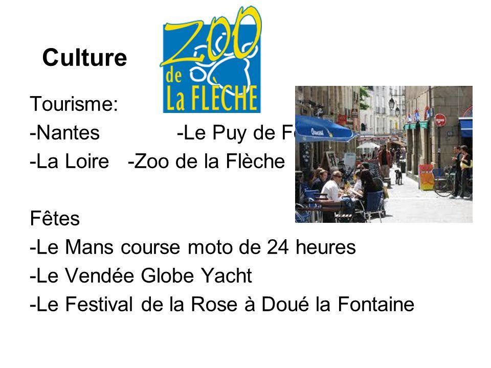 Culture Tourisme: -Nantes -Le Puy de Fou -La Loire -Zoo de la Flèche