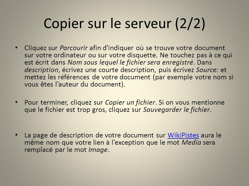 Copier sur le serveur (2/2)