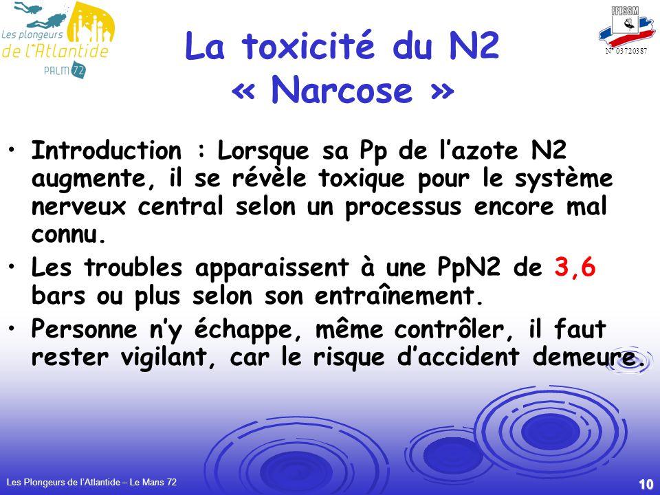 La toxicité du N2 « Narcose »