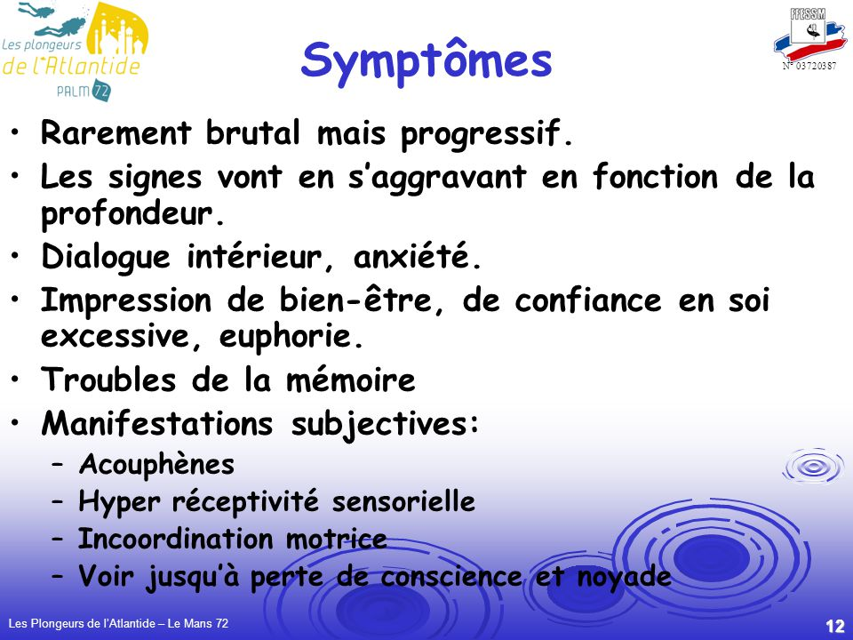 Symptômes Rarement brutal mais progressif.