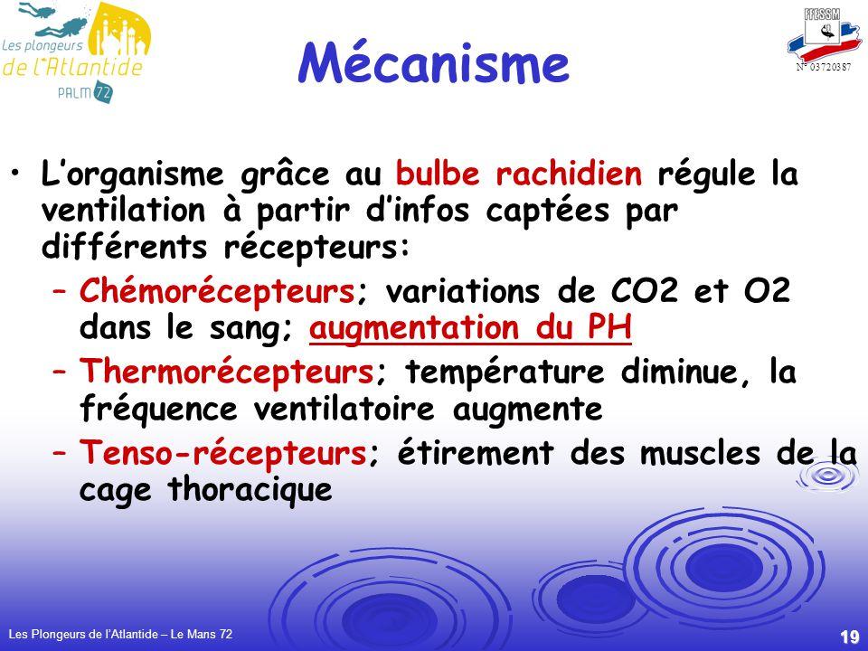 Mécanisme L'organisme grâce au bulbe rachidien régule la ventilation à partir d'infos captées par différents récepteurs: