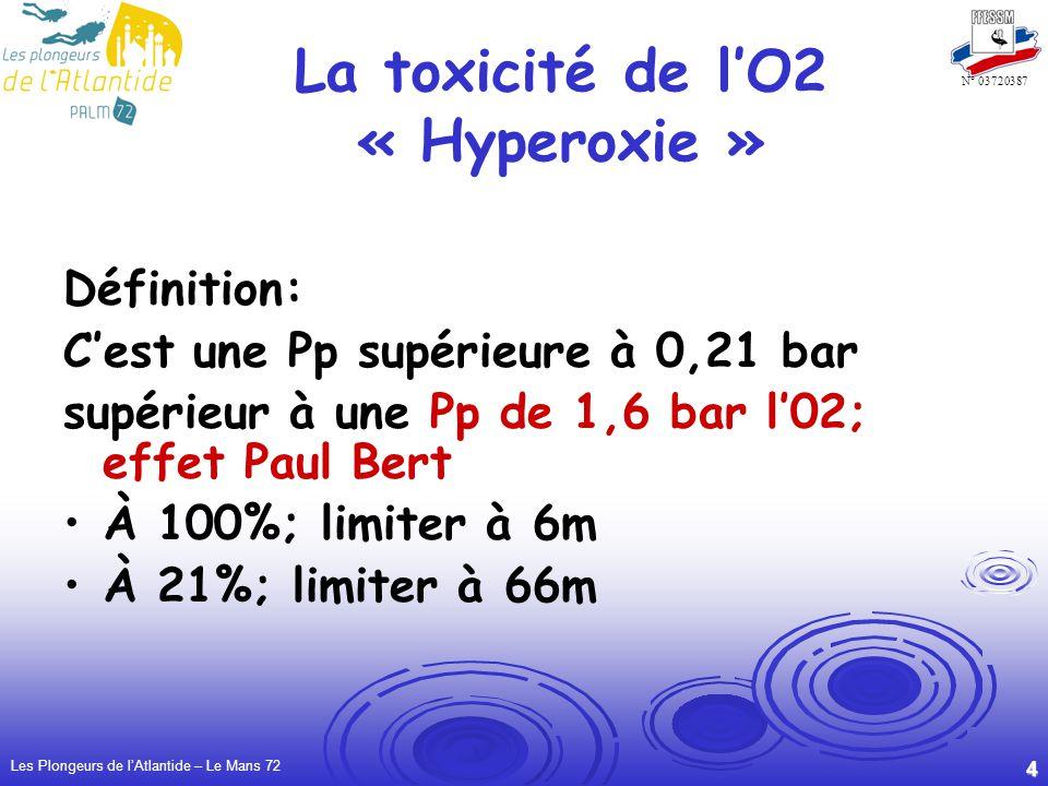 La toxicité de l'O2 « Hyperoxie »
