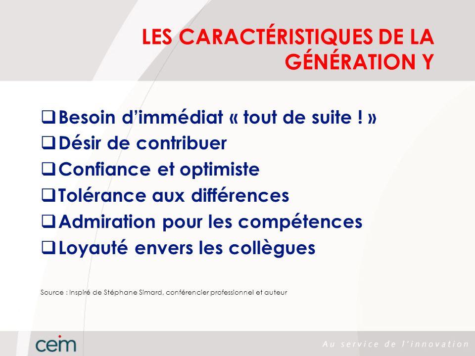 LES CARACTÉRISTIQUES DE LA GÉNÉRATION Y