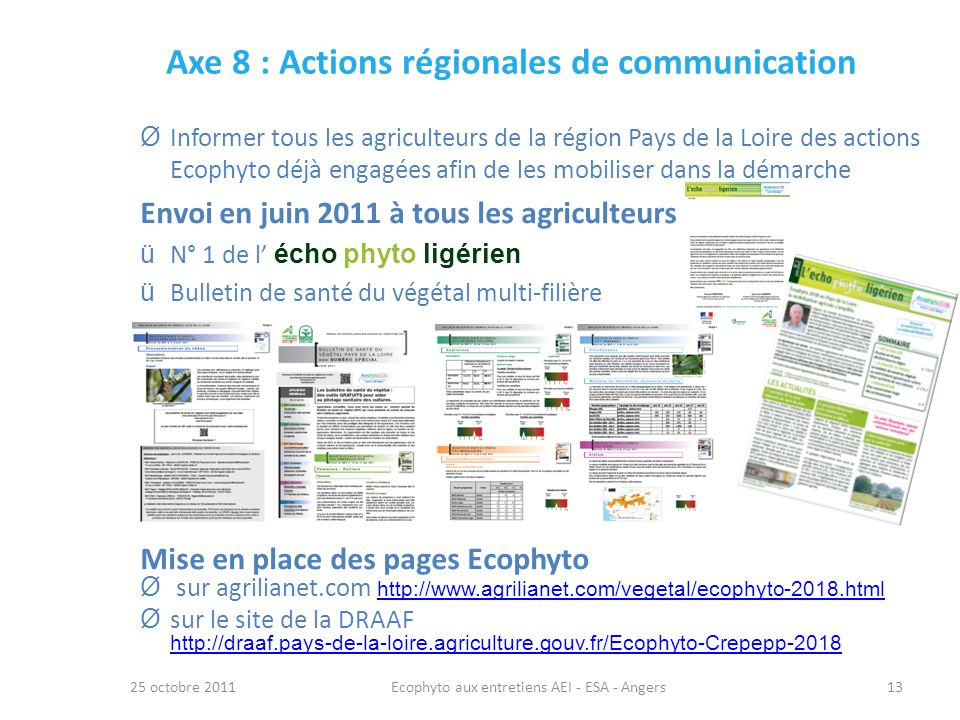 Axe 8 : Actions régionales de communication