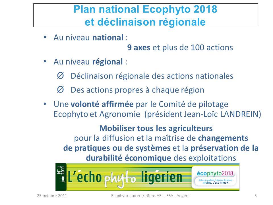 Plan national Ecophyto 2018 et déclinaison régionale