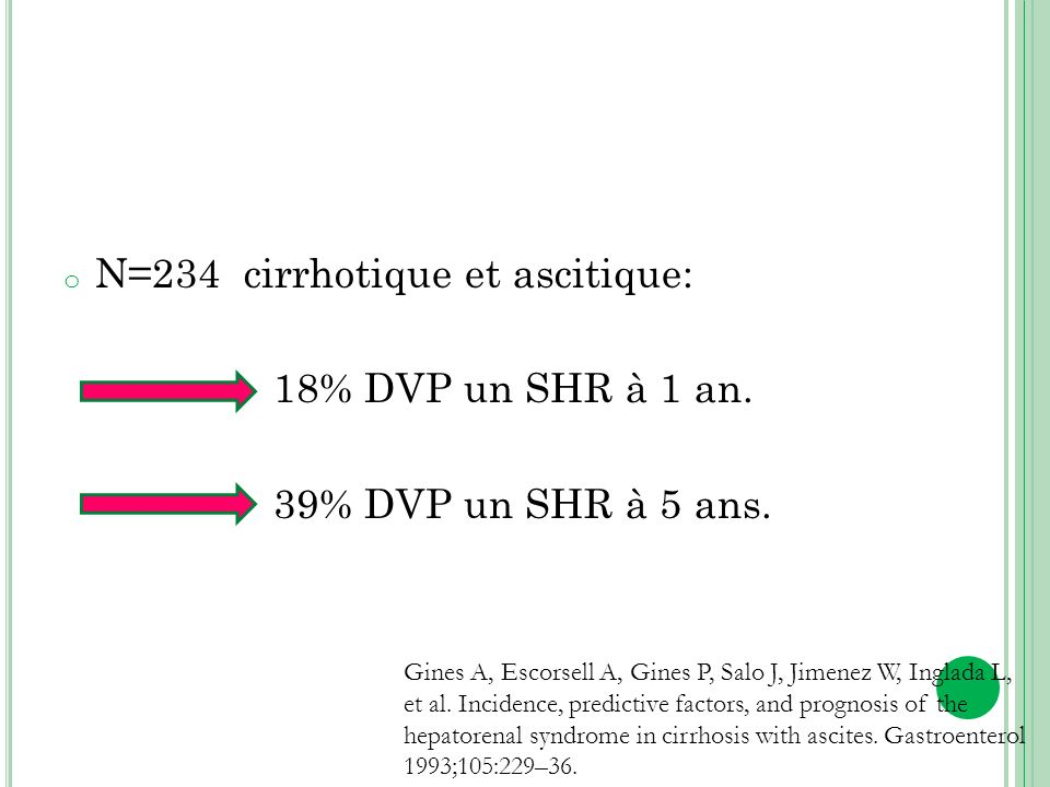 N=234 cirrhotique et ascitique: 18% DVP un SHR à 1 an.