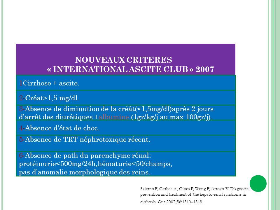 NOUVEAUX CRITERES « INTERNATIONAL ASCITE CLUB » 2007