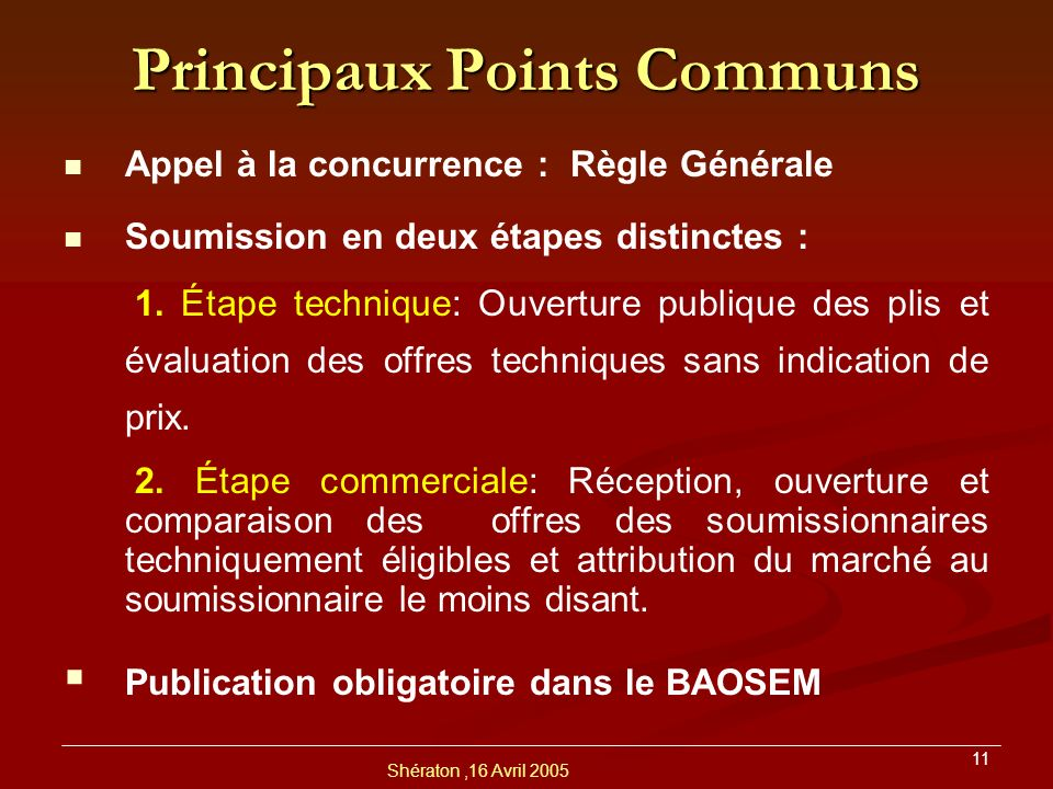 Principaux Points Communs