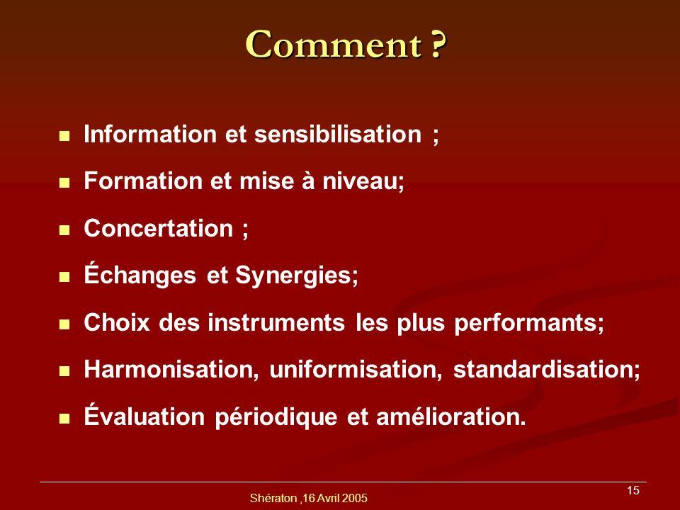 Comment Information et sensibilisation ; Formation et mise à niveau;