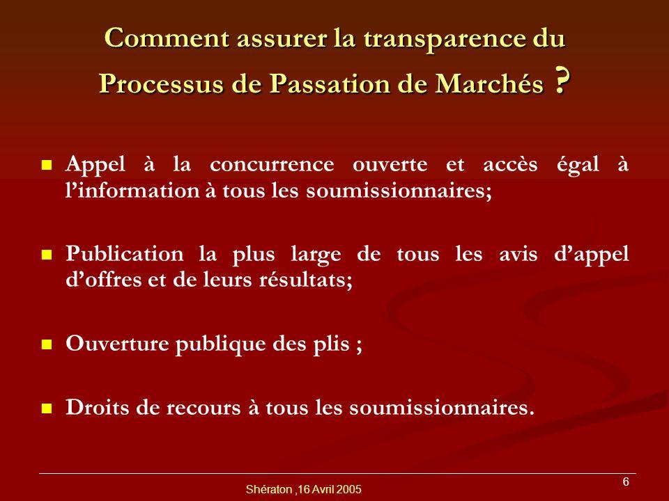 Comment assurer la transparence du Processus de Passation de Marchés