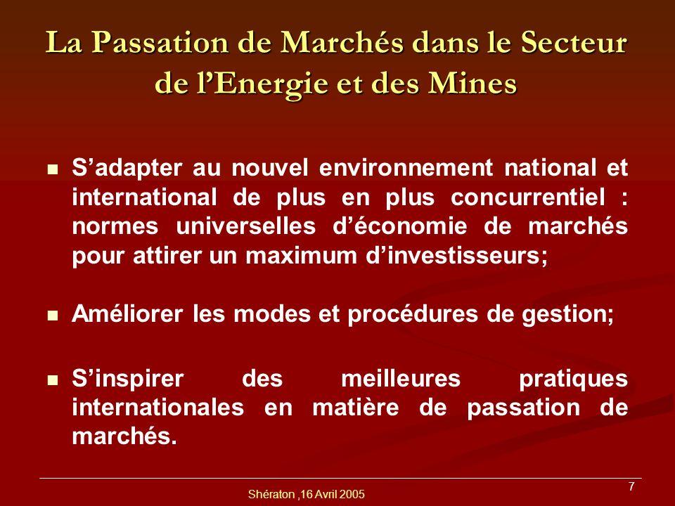 La Passation de Marchés dans le Secteur de l'Energie et des Mines