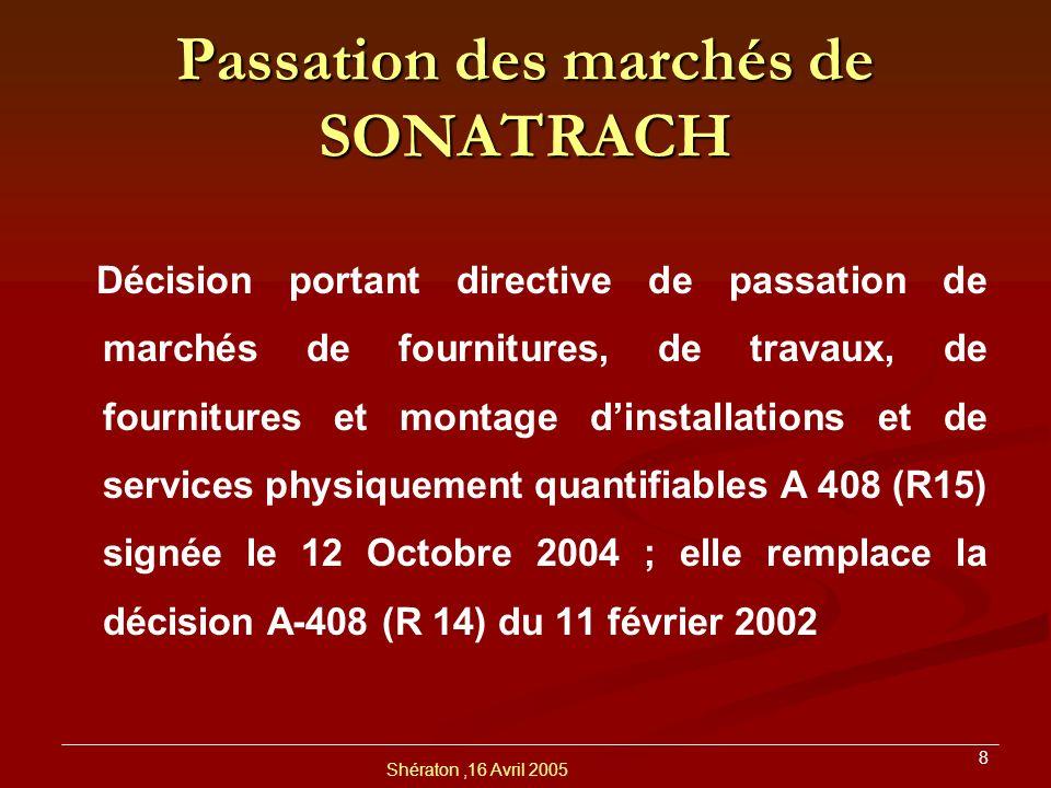 Passation des marchés de SONATRACH