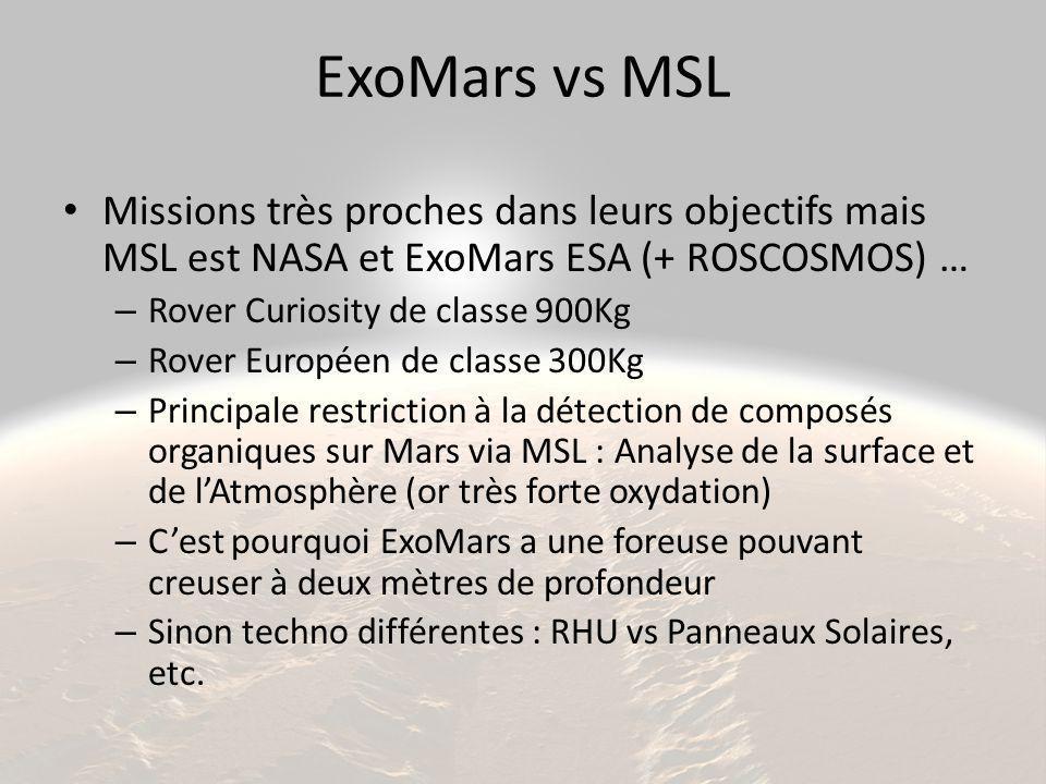 ExoMars vs MSL Missions très proches dans leurs objectifs mais MSL est NASA et ExoMars ESA (+ ROSCOSMOS) …