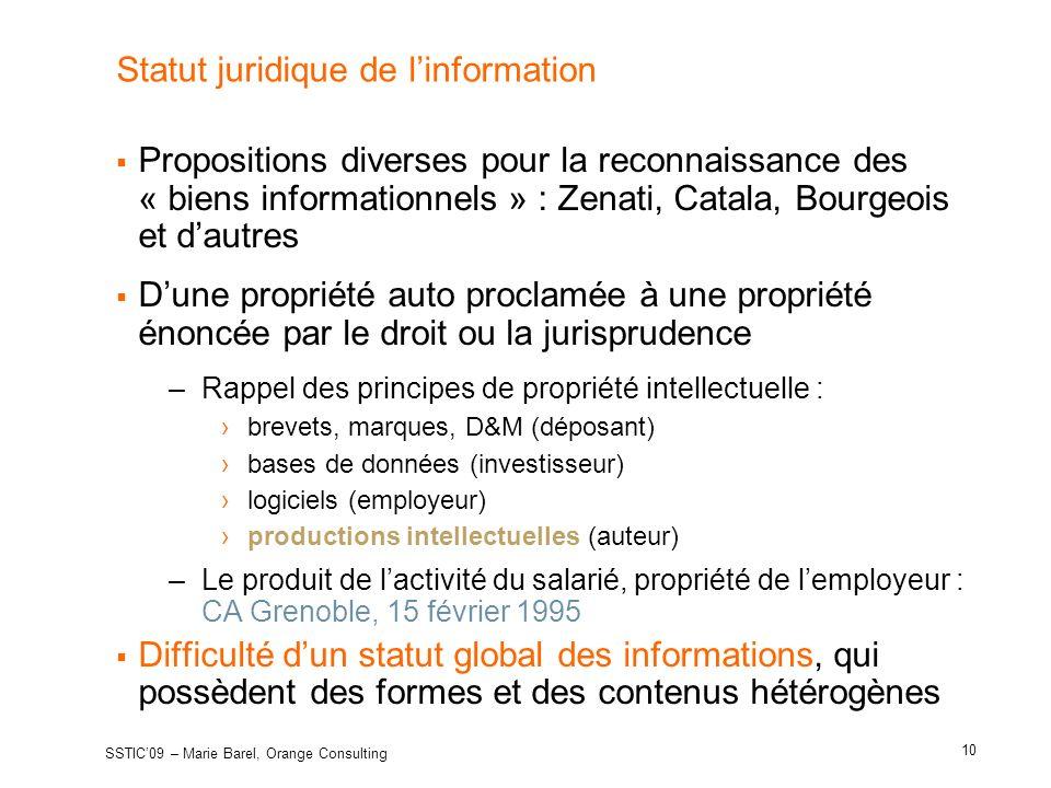 Statut juridique de l'information
