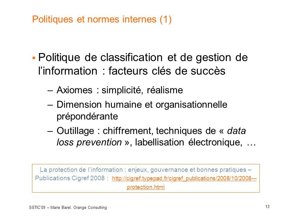 Politiques et normes internes (1)