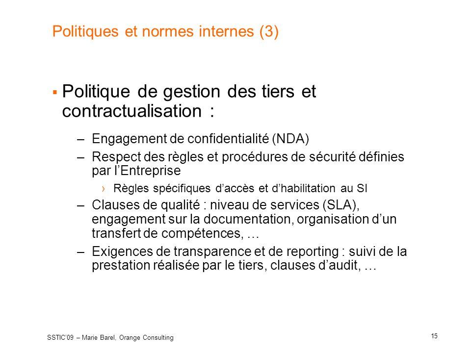 Politiques et normes internes (3)