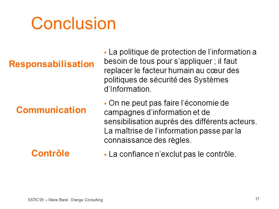 Conclusion Responsabilisation Communication Contrôle
