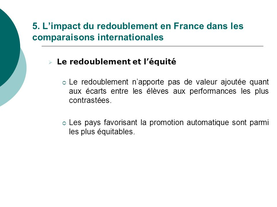 5. L'impact du redoublement en France dans les comparaisons internationales