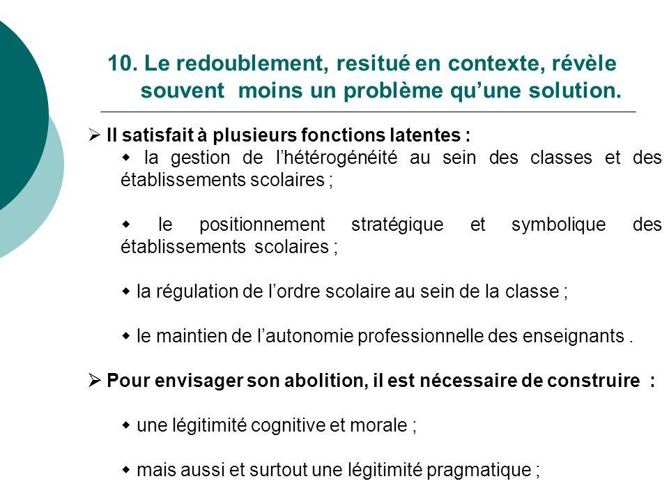 10. Le redoublement, resitué en contexte, révèle souvent moins un problème qu'une solution.